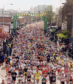 Mass of runners